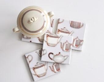 Teapots Ceramic Coasters Set of 4, Tile Coasters Teapots, Table Coasters, Beige Drink Coasters Set of 4