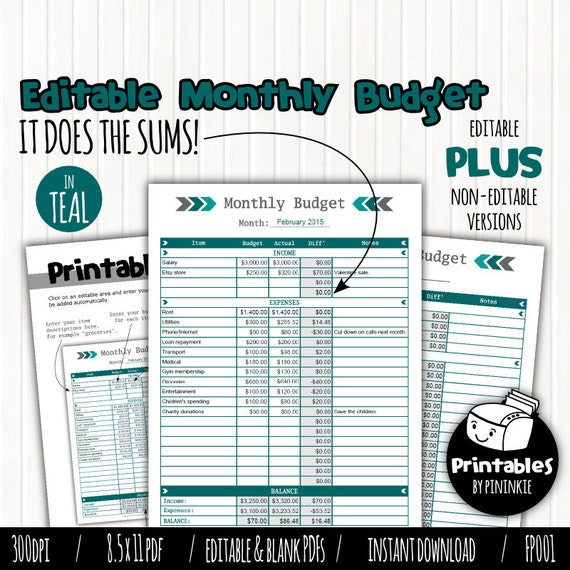 Printable Monthly Budget Planner Editable by ...