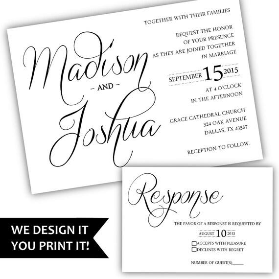 Printable Wedding Invitation Calligraphy By Classyprintsonline