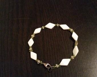Green and white bracelet
