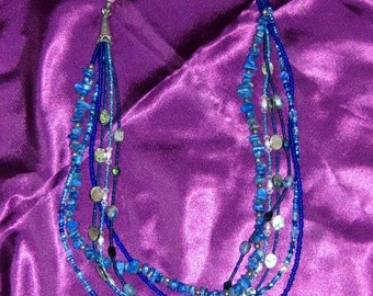 Blue Multi Strand seed beed necklace