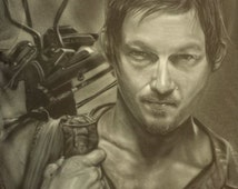 Airbrushed t-shirt portrait of Daryl, the Walking Dead