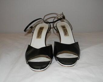 Vintage Enzo Angiolini Peep Toe Black and White Pumps