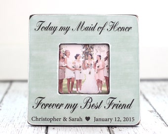 Maid of Honor Best Friend Personalized Picture Frame Wedding Thank You Gift Rustic Country Beach Wedding Bridesmaids