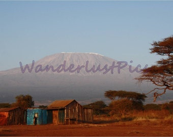 Mount Kilimanjaro,Tanzania,Travel Photography,Landscape Photography,Nature Photography,Outdoor Photography,Blue and Red, Mountain and Sky