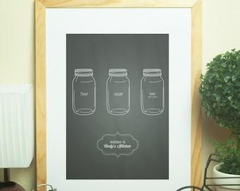 Custom Home Decor- Mason Jar Flour Sugar Love Personalized Kitchen Art Chalkboard Print