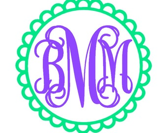 Scalloped Edge Circle Monogram with 2 Colors (5 inch)