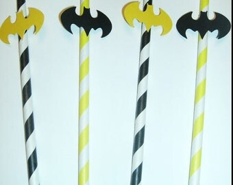 10 Fun Batman Straws, Super Hero, Photo Prop, Birthday Party (943S)