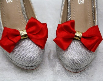 red & gold satin bow shoe clips accessory high heel decoration satin ribbon wedding