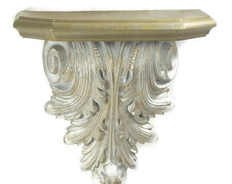 Hollywood Regency Style Wall Shelf Gold White 12 x12