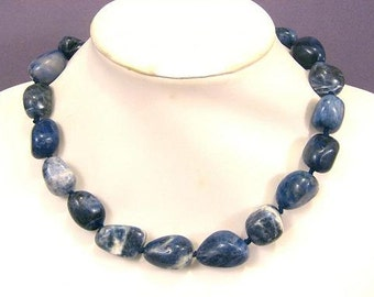Necklace Sodalite 25mm Nuggets 925 NSSD5560