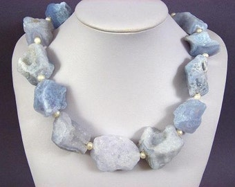 Necklace Blue Lace Agate(pearls) 35mm Rough Tumble 925 NSAB5632