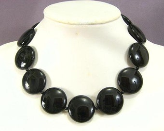 Necklace Black onyx 30mm Coin Disc 925 NSNX5435