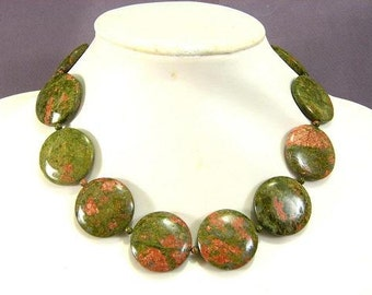 Necklace Unakite 30mm Coin Disc 925 NSEP5474