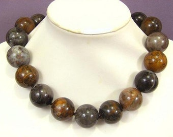 Necklace Rainbow Agate 25mm Round Beads 925 NSAR5575