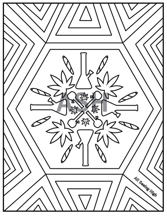 Marijuana bong mandala 420 adult colouring page by for Bong coloring pages