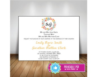Flowery Elegance 5x7 Custom Wedding Invitation, Yellow, Pink
