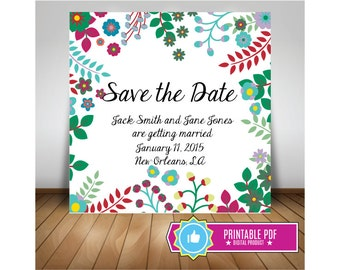 Green Flower 5.5 x 5.5 Custom Save the Date Invitation