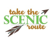 Take the Scenic Route Arrow Machine Embroidery Design. Four Sizes Included.