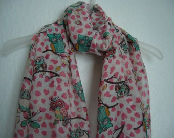 Owl Scarf, Pink Hearts - Multi colour Owl Scarf, Scarf, Spring, Summer Scarf, Multi Colour Scarf, For Her