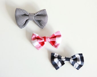 Checked & houndstooth bow / brooch / bow tie / hair decoration