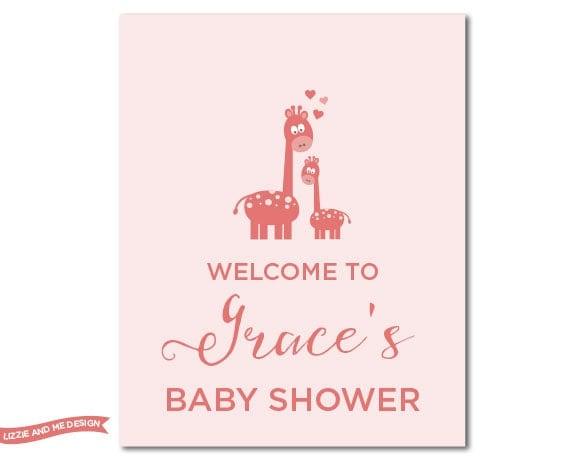 baby shower welcome sign girl shower decor giraffe baby shower pink