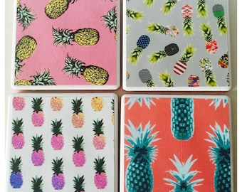 Set of 4 ceramic 'Pineapple Punch' home decor coasters