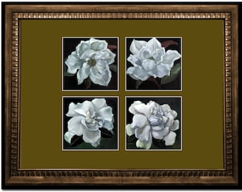 Four White Gardenias Composition framed and matted for office and home