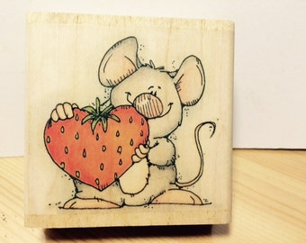 Heart Strawberry 'N Mouse Rubber Stamp by Whipper Snapper