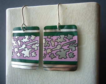 Upcycled Tin earrings....pink, silver, green and black patterned tin with sterling silver ear wires