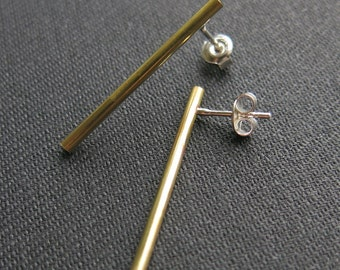 Earstuds, long tube bars, brass