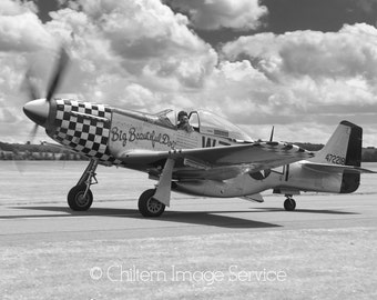 P-51 Mustang Monochrome Aviation Aircraft Warbird WWII Giclee photo print photography fine art