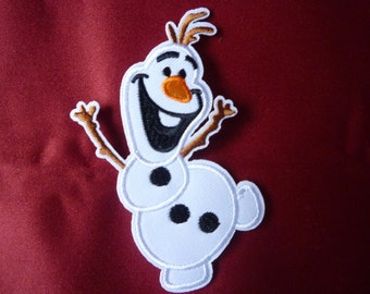 Disney Frozen Olaf Snowman iron-on, sew-on applique, patch, embroidery badge.