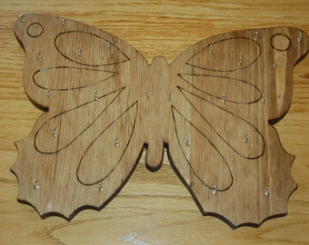 Butterfly shaped jewelry display plaque