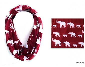 Red with White Elephants Infinity Scarf