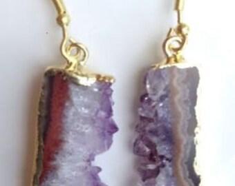 Gold Plated Amethyst Druzy Slice Earrings