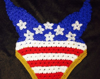 Stars and stripes USA horse fly bonnet