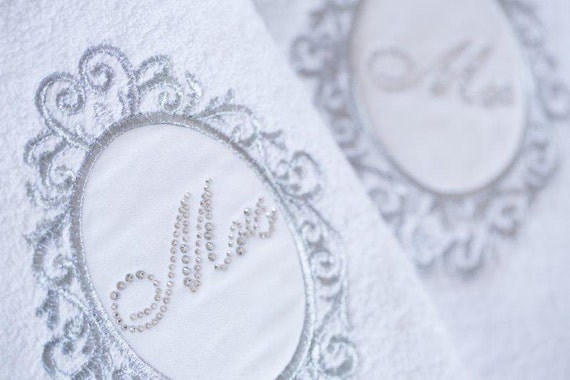 swarovski detailed mr & mrs high quality towel set