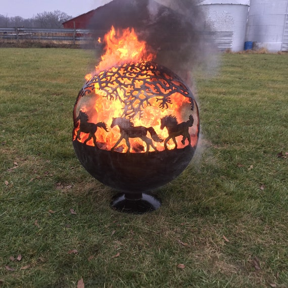 Globe Fire Pit : Items similar to fire pit sphere globe with horses on etsy