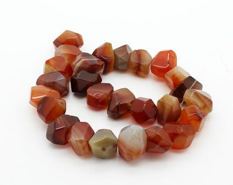 Red Agate stone faceted nuggets 26 pieces per strands