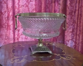 Vintage Crystal Bowl with Silver Pedestal ~ Victorian, Downton Abbey