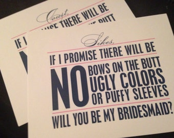Will you be my .... Bridesmaid, Maid of Honor or Matron of Honor cards
