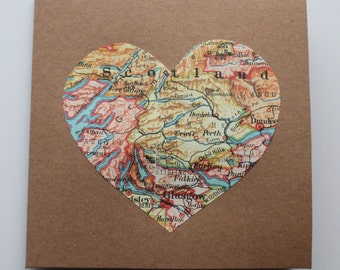 Love Heart Map Valentines Travel card, Handmade Map love Anniversary card