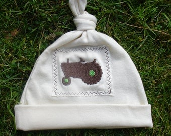 Organic Cotton Baby Hat with Tractor