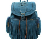 Deco Blue Fringe Boho Hippie Backpack (Other colors AVAILABLE)