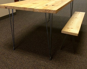 Reclaimed Hairpin leg dinning table with bench.