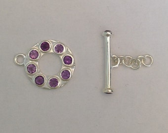 Shiny Sterling Silver Toggle with Amethyst Gemstones
