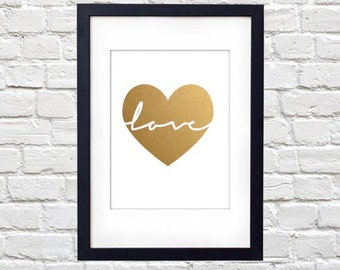 Love in Gold Heart Printable