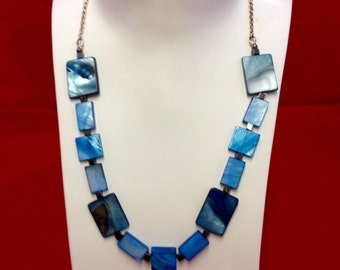 Blue shell necklace with matching earrings