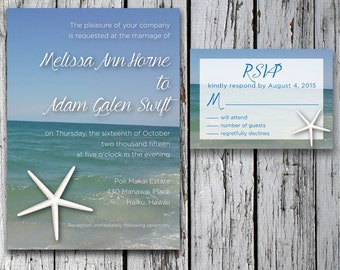 Printable custom beach theme wedding invitation and response card